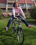 Jan being crazy on her bike